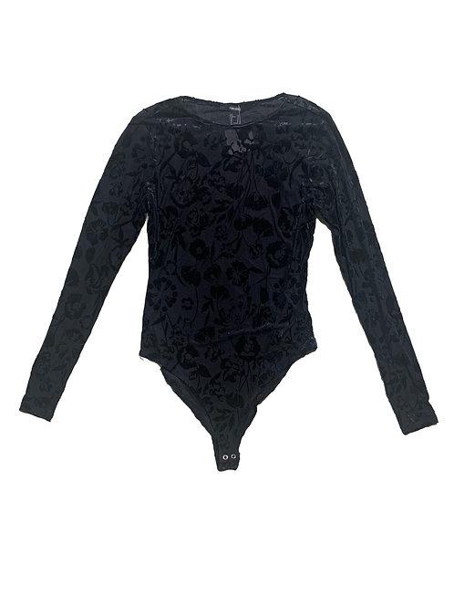 Forever21 black velvet floral sheer long sleeve bodysuit