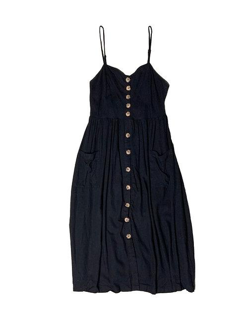 Buffalo black button midi dress