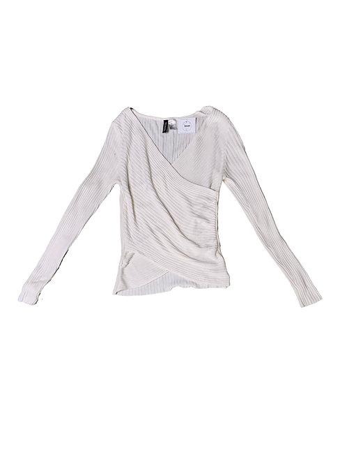 H&M white ribbed knit long sleeve bodysuit