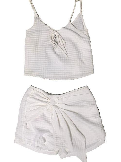 MPC cream tank top skirt set