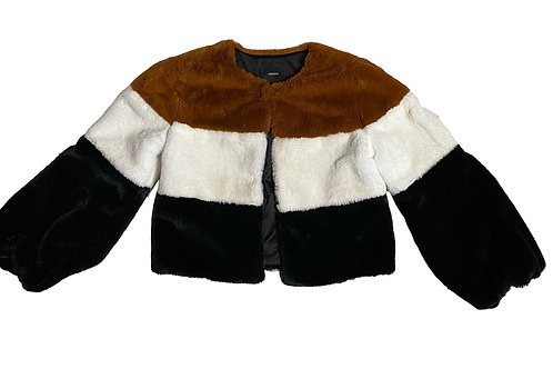 F21 Brown Cream Black Faux Fur Jacket