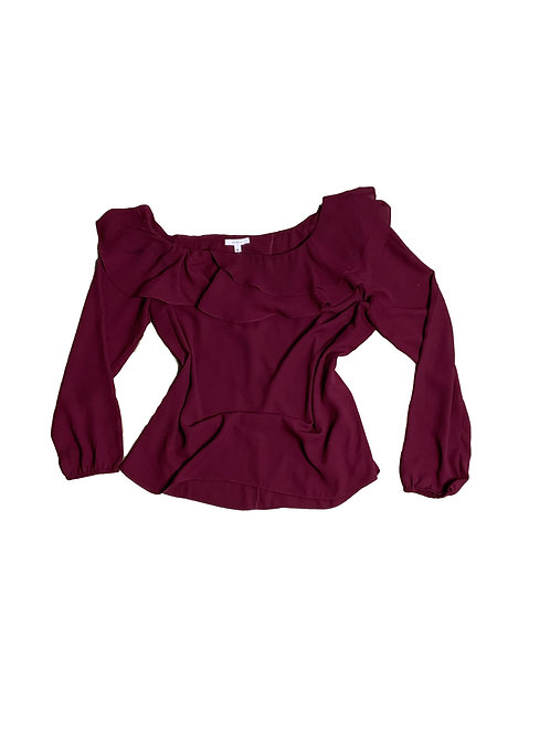 Maette burgundy one-shoulder blouse
