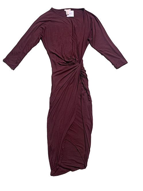 H&M burgundy long sleeve maxi dress
