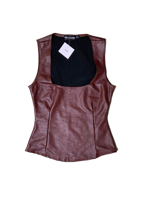 Pretty Little Thing brown faux leather top