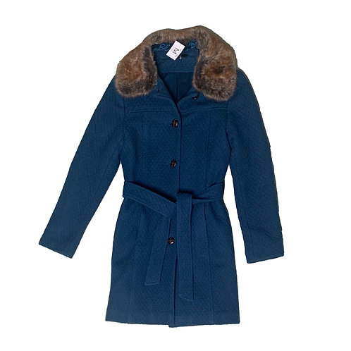 Le Chateau teal texture jacket w/ fur collar