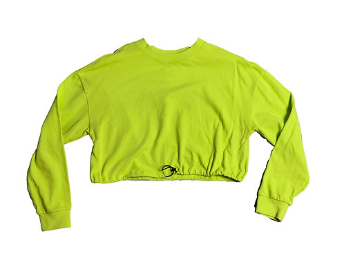 Forever21 neon green cropped sweater