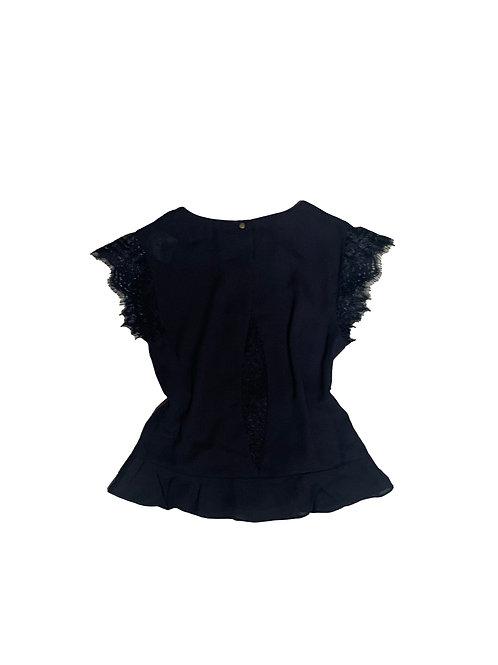 Nora NY black w/ lace detail shortsleeve blouse