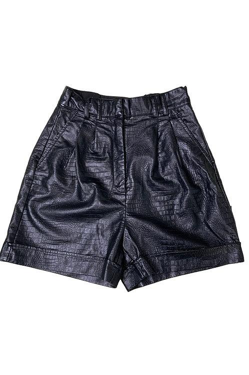 Dynamite black crocodile-effect faux leather shorts