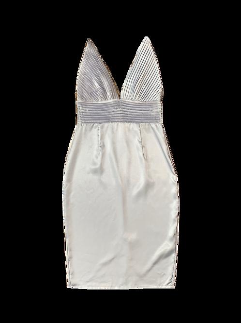 Lilac silver satin dress