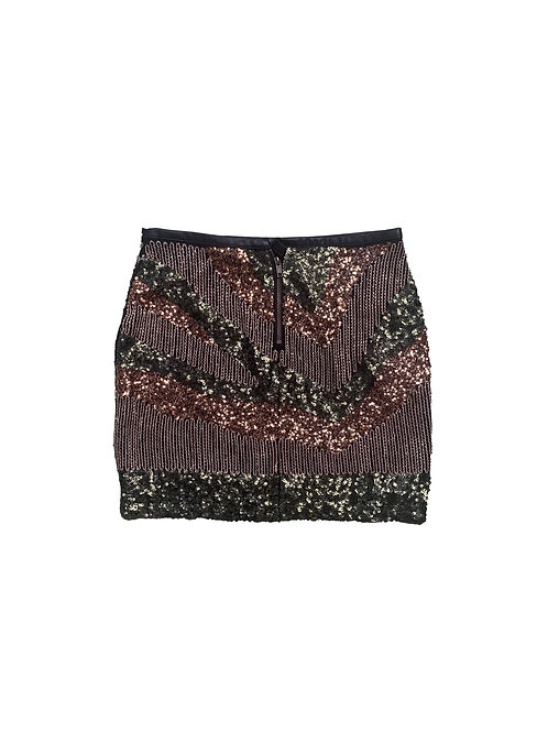 H&M green and gold sequin mini skirt