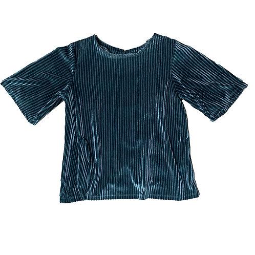 Compañia Fantastica green velour short sleeve top