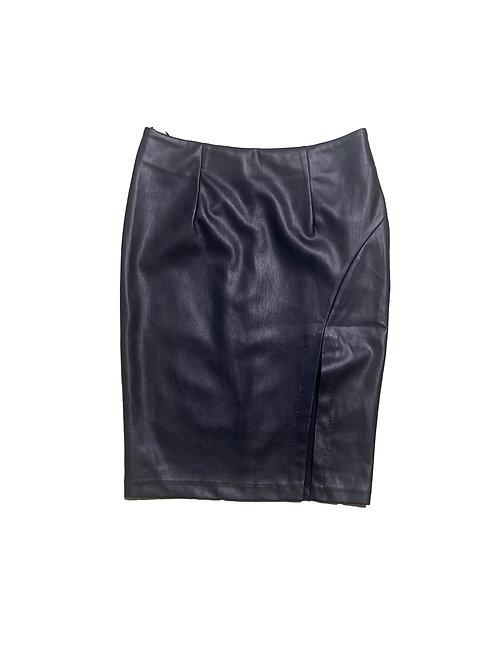 Forever21 black faux leather skirt w/ slit