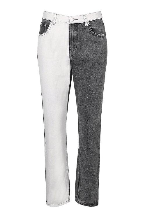 Color block high rise jeans