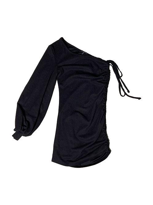 Fashionnova black one sleeve dress
