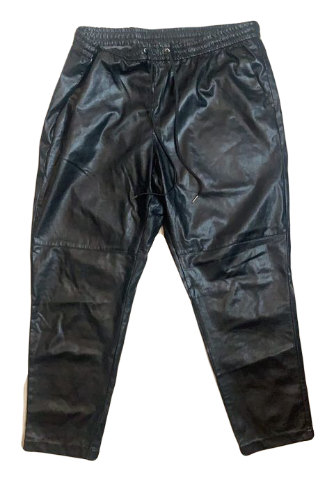 H&M black faux leather joggers