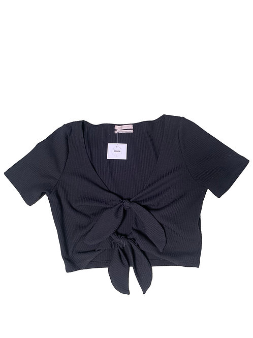 Urban Outfitters black tie front shortsleeve crop top