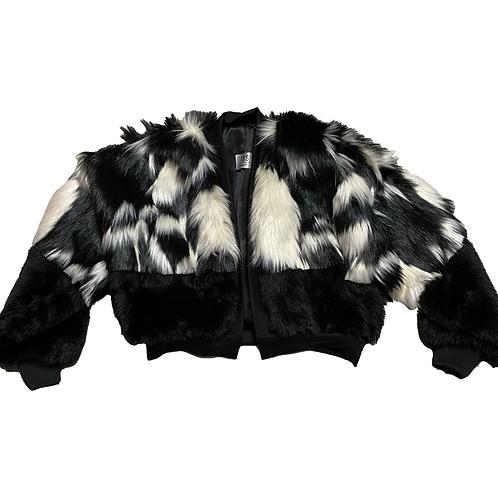 TDS black and white fur jacket