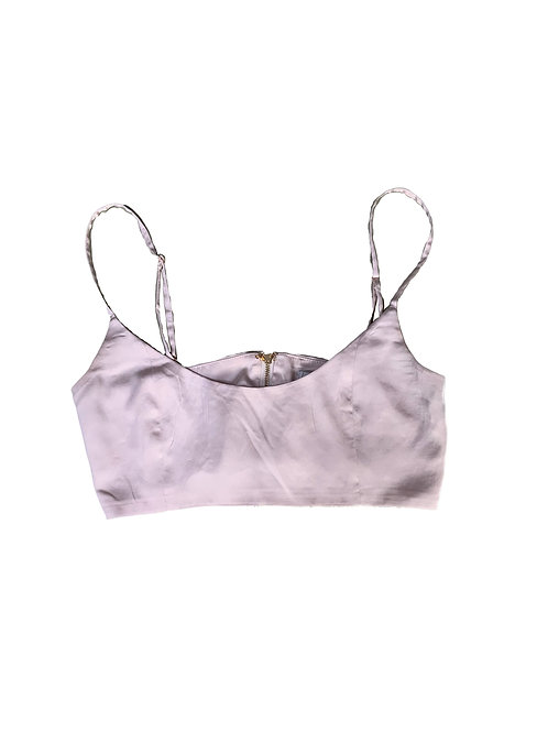 Oh Polly satin  champagne crop top