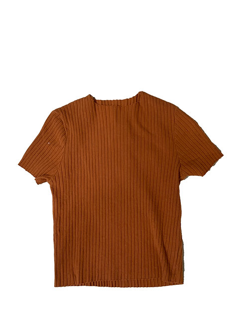 Heart & Hips apricot ribbed short sleeve crop top