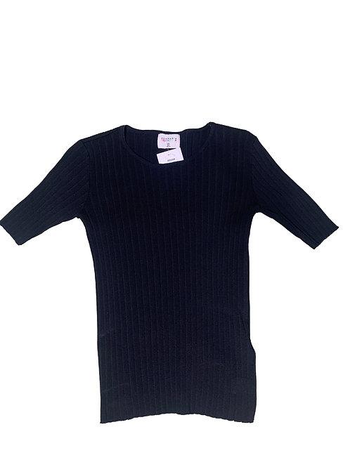 Compañia Fantastica black ribbed short sleeve top