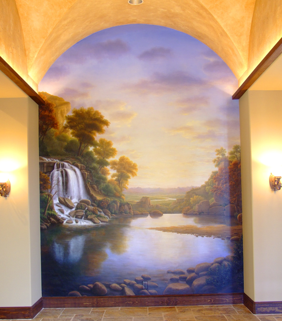 Landscape With Waterfall Mural