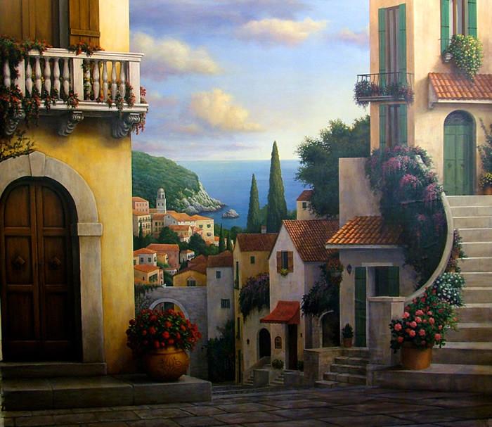 Italian Village Scene