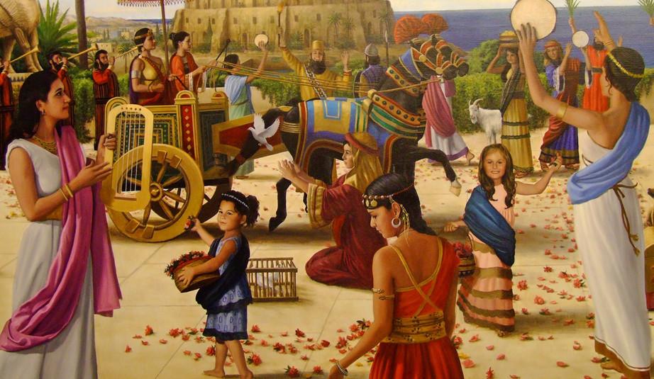 The Arrival of Queen Semiramis in Babylon Closeup