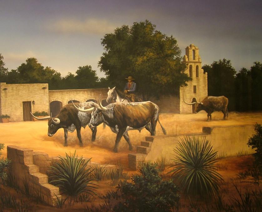 Longhorns Near Mission Espada