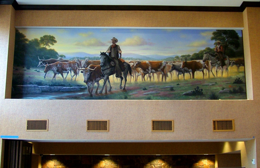 Hill Country Cattle Drive Scene Mural