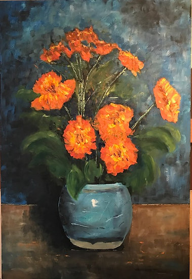 A study after Zandleven: Marigolds in a ginger jar