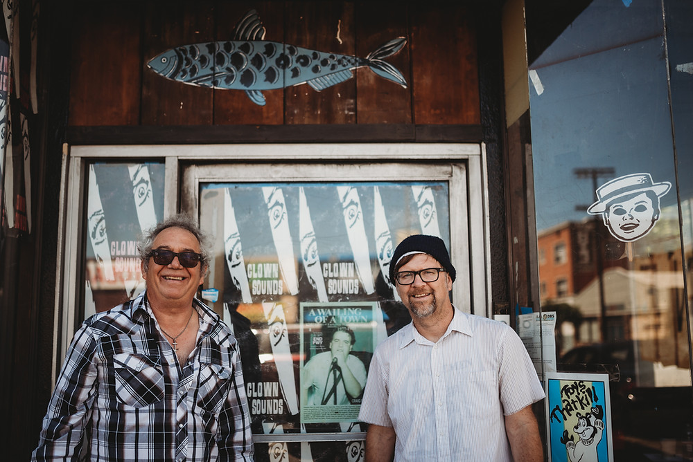 Mike Watt and Todd Congelliere outside The Sardine in Pedro