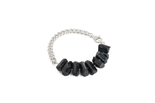 Black tourmaline silver bracelet