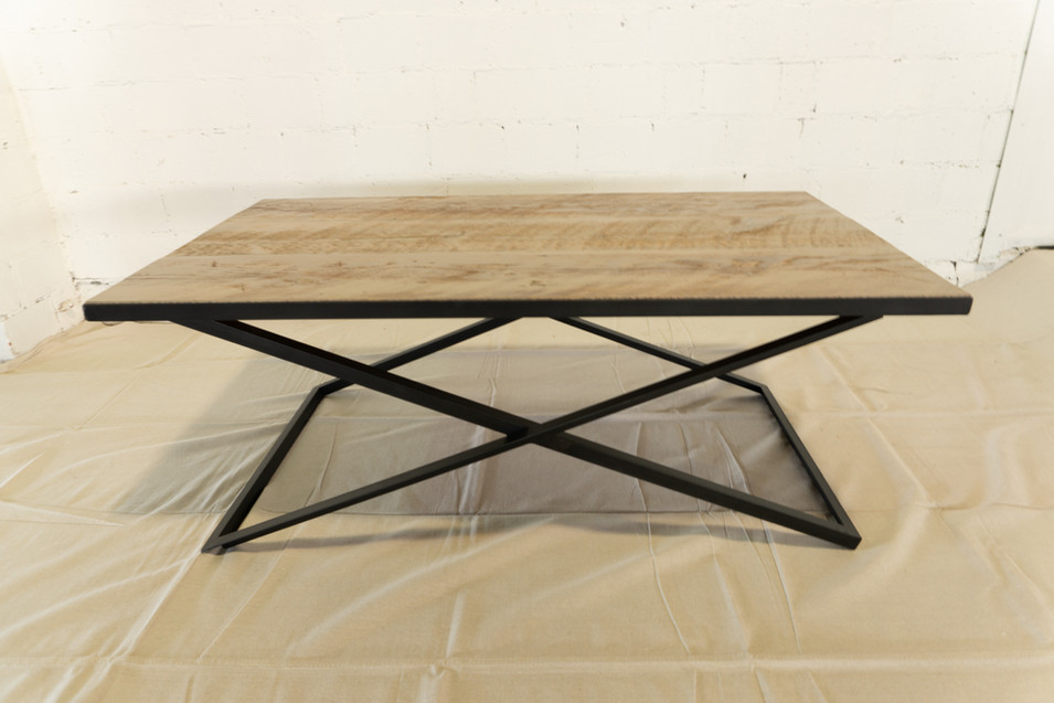 Salvaged Barn Wood Coffee Table with Steel Base
