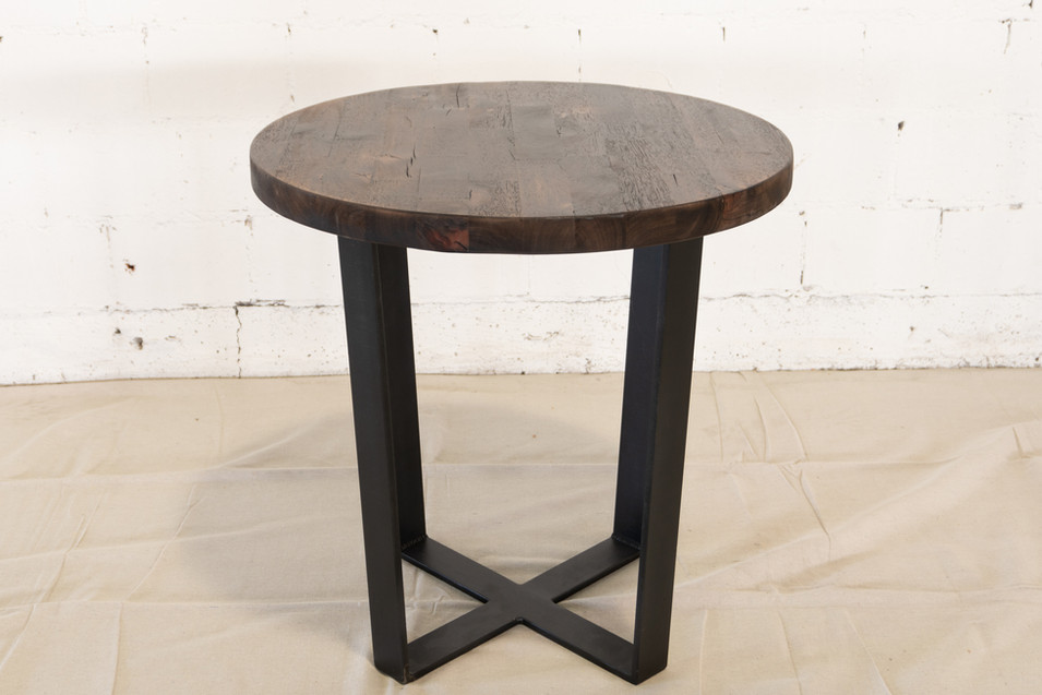 Torched Hardwood Round Accent Table