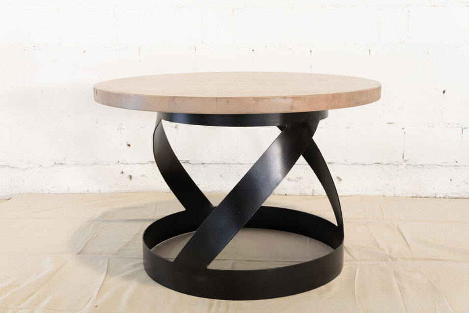 Grey Finish Round Table with Ribbon Steel Base