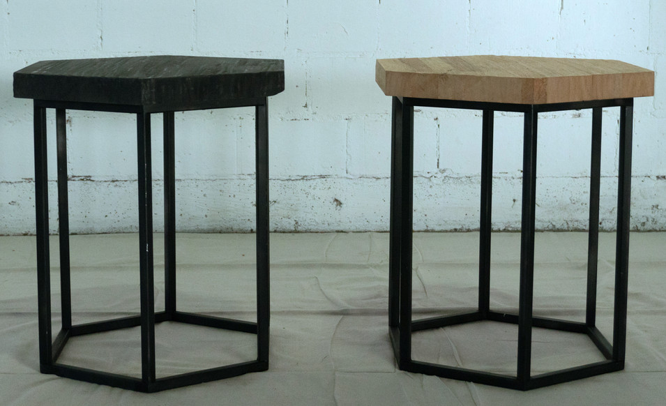 Hexagon Tables - Black and Birch
