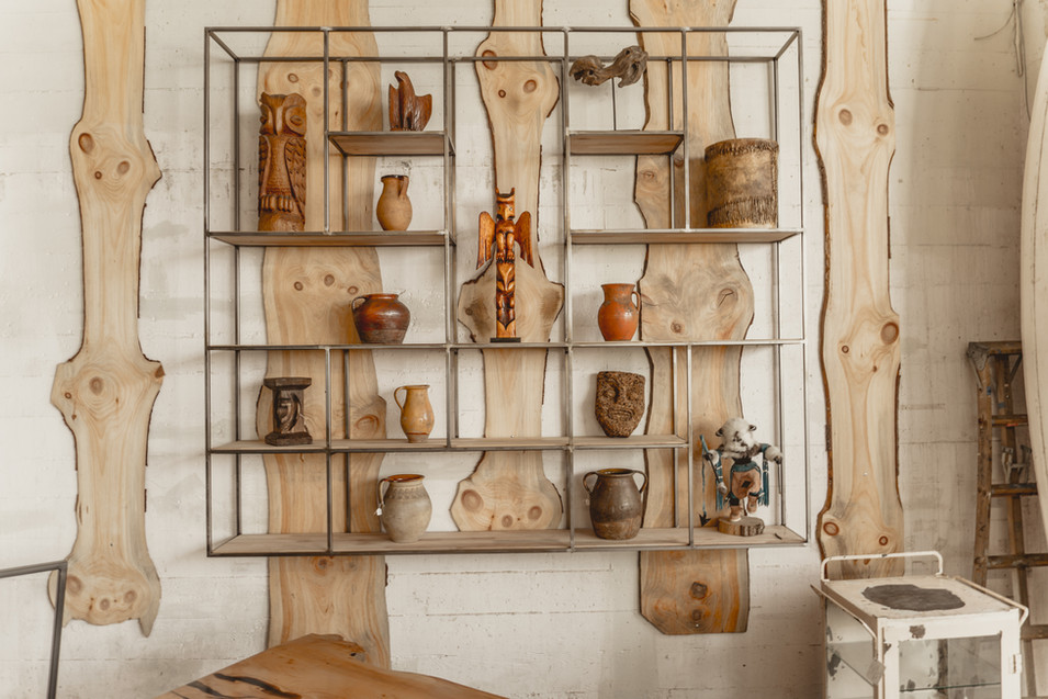 Custom Built Floating Steel Shelving
