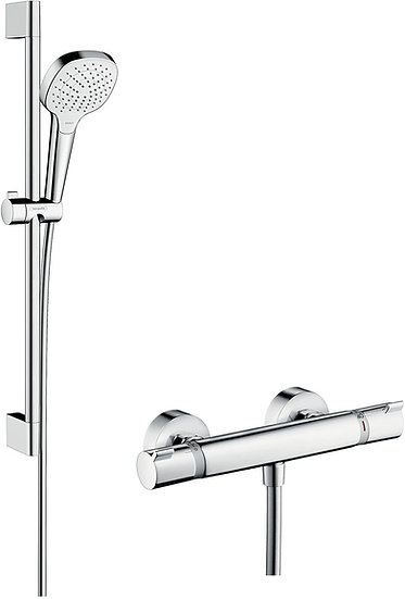 hansgrohe croma shower system with ecostat comfort thermostatic mixer