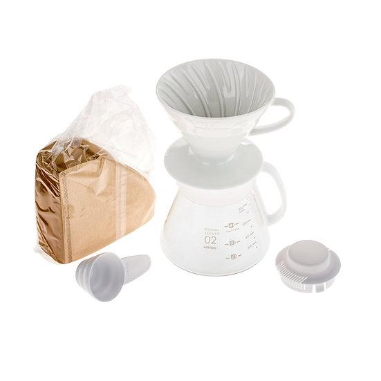 Hario zestaw V60 Dripper & Pot White - drip + serwer + filtry