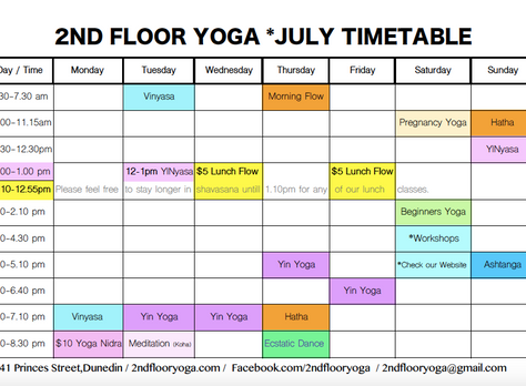 July Timetable - What's New?
