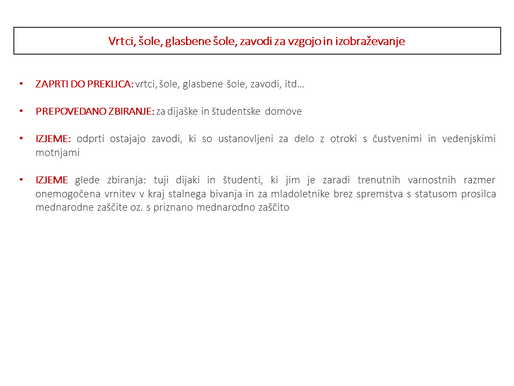 Sprejeti ukrepi Vlade Republike Slovenije v povezavi s stanjem vezanim na Korona virus