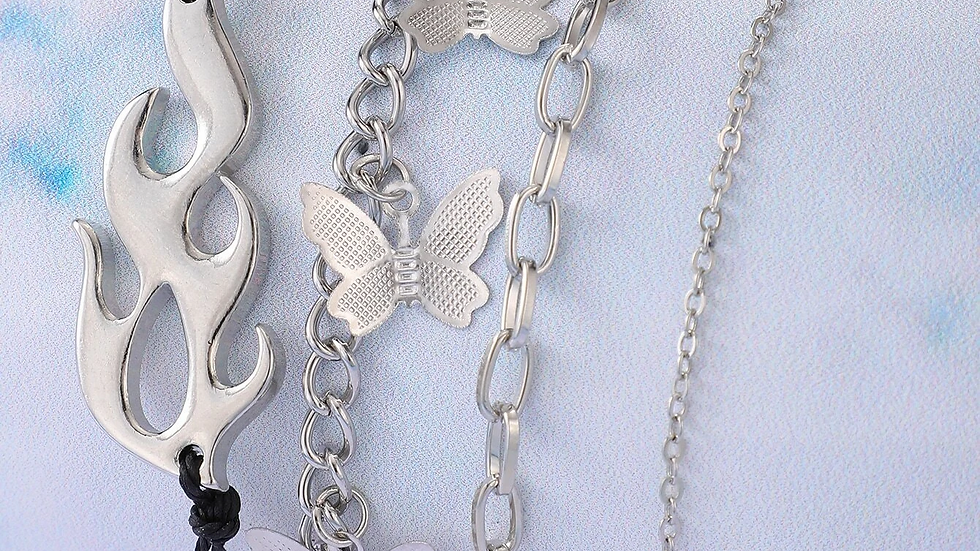 4pcs Butterfly & Flame Chain Bracelet