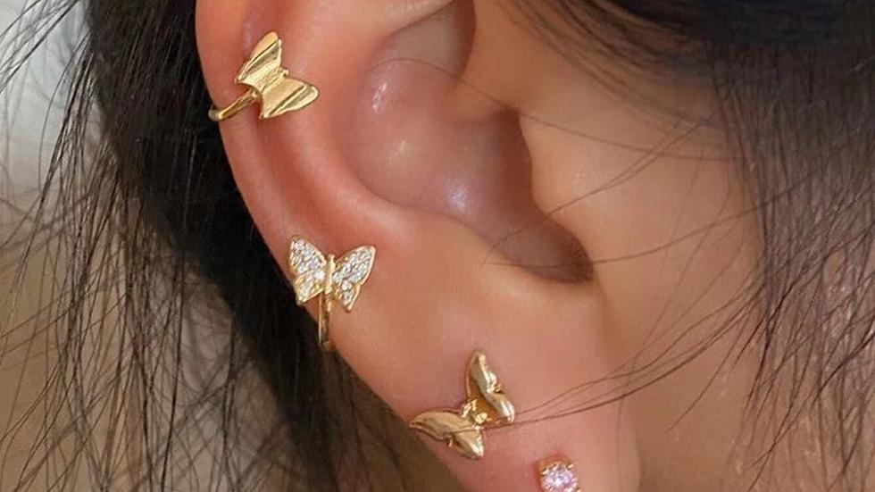 4pcs Rhinestone Butterfly Design Earrings