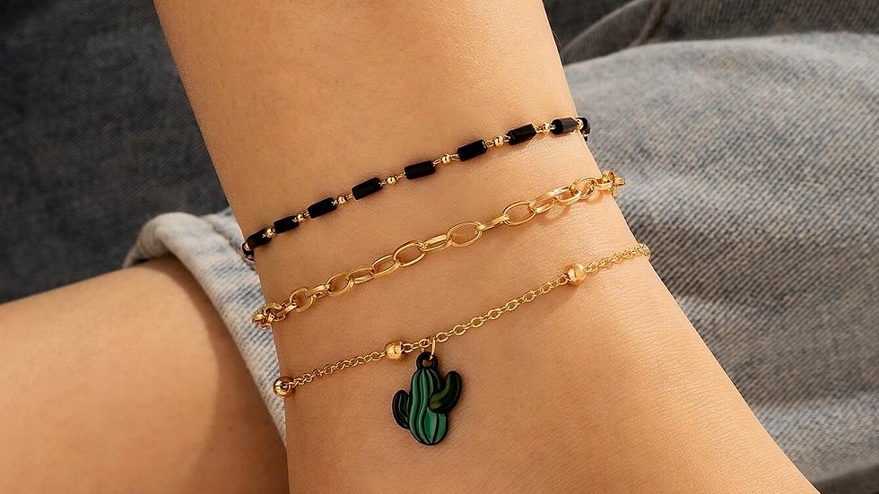 3pcs Cactus Decor Chain Anklet