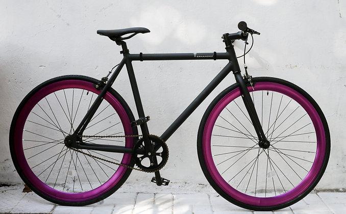 Fixie Negro Matte y Púrpura Metálico