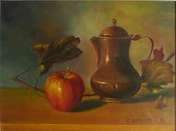 Natura morta con caffettiera e mela
