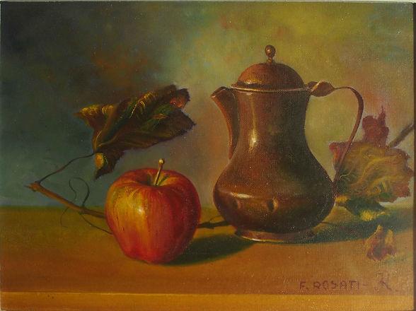 dipinto natura morta con caffettiera e mela