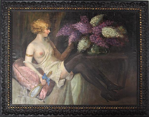 Pittura mitteleuropea Ammirando i glicini pittrice Ilma Bernàth