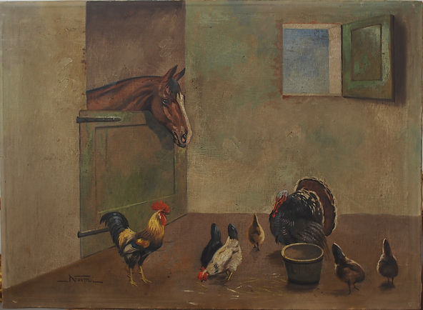 interno di stalla con cavallo