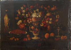 composizione di fiori , ciliege e cacciagione